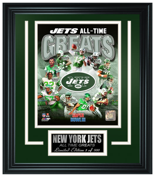 New York Jets Limited Edition All-Time Greats Frame. FTSSF179