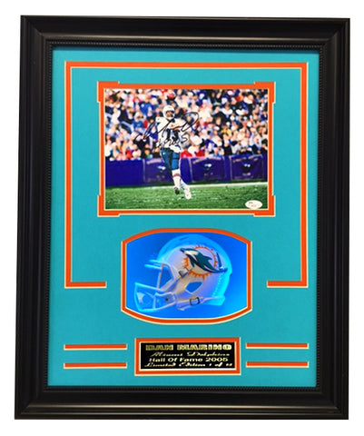 Miami Dolphins - Dan Marino Autograph 8x10 Photo With Mini Helmet In 16x20 LED Shadow Box
