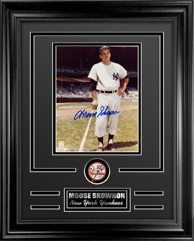 Yankees Moose Skowron Autographed Framed Photo Collage.