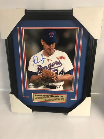 Texas Rangers- Nolan Ryan Bloody Lip Autographed and Framed 8x10 Ryan Hologram