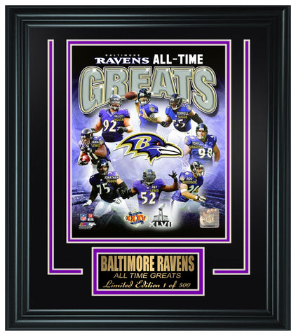 Baltimore Ravens All-Time Greats Limited Edition Frame. FTSSF180 - National Memorabilia