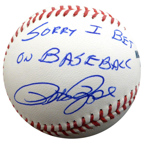 "PETE ROSE AUTOGRAPHED MLB BASEBALL REDS ""SORRY I BET ON BASEBALL"""