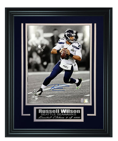 Seahawks-Russell Wilson Autographed Framed Spotlight 8x10 Photo
