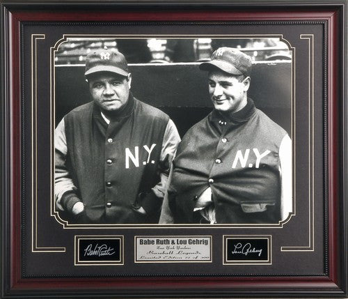 MLB-Yankees-Babe Ruth & Lou Gehrig 16x20 Photo Engraved Signature Collage