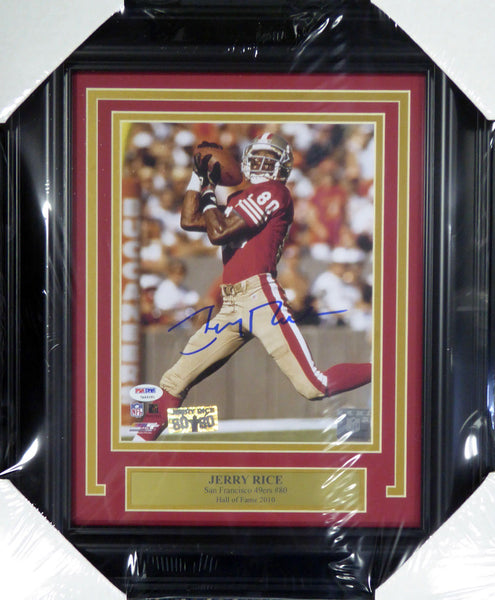 JERRY RICE AUTOGRAPHED SIGNED FRAMED 8X10 PHOTO 49ERS PSA/DNA