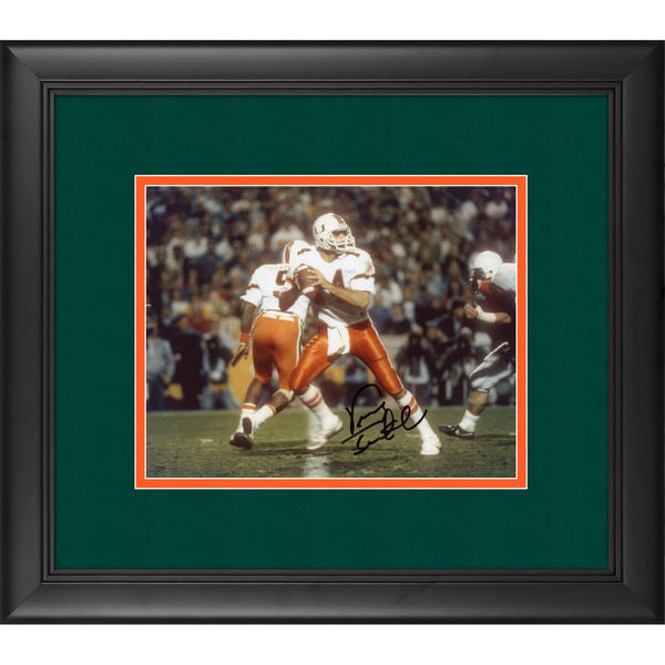 "Vinny Testaverde Miami Hurricanes Framed Autographed 8"" x 10"" Look Throw Horizontal Photograph"