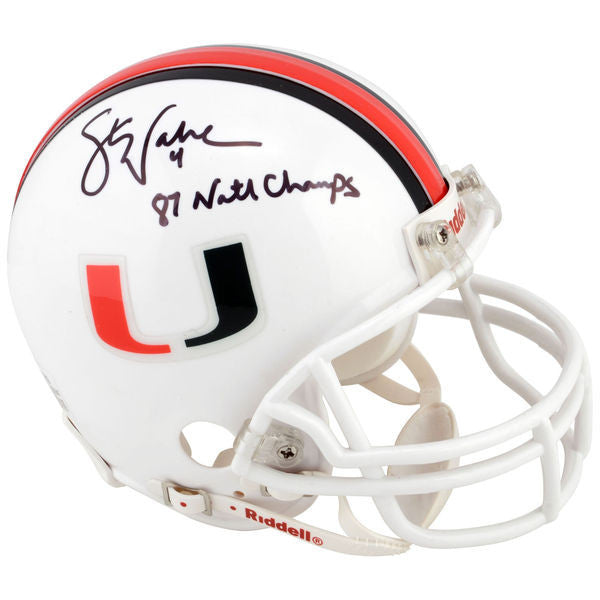Steve Walsh Miami Hurricanes Autographed Mini Helmet with 1987 National Champs Inscription
