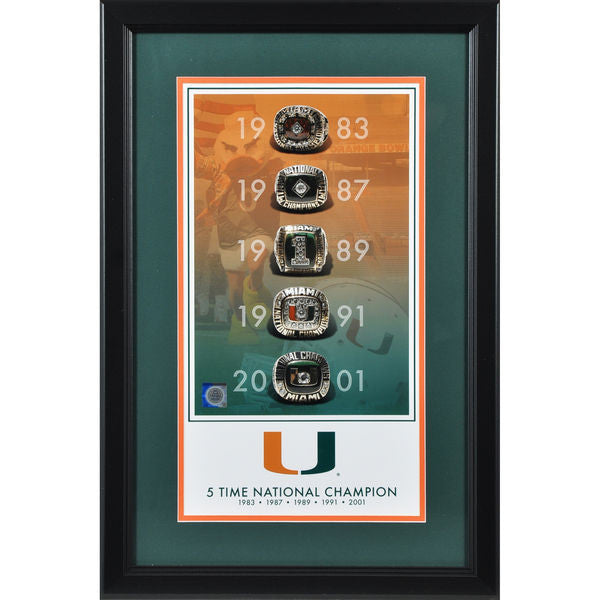 "Miami Hurricanes Framed 10"" x 18"" 5-Time National Champions Legacy Print"