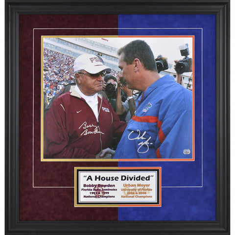 "Bobby Bowden, Urban Meyer Framed Autographed 16"" x 20"" Photograph - National Memorabilia"