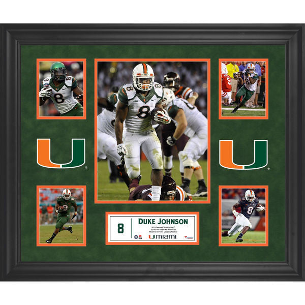 Duke Johnson Miami Hurricanes Framed 23'' x 27'' 5-Photo Collage