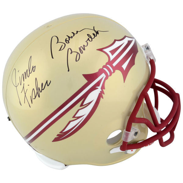 Jimbo Fisher, Bobby Bowden Florida State Seminoles (FSU) Dual Autographed Riddell 2014 - Present Style Replica Helmet