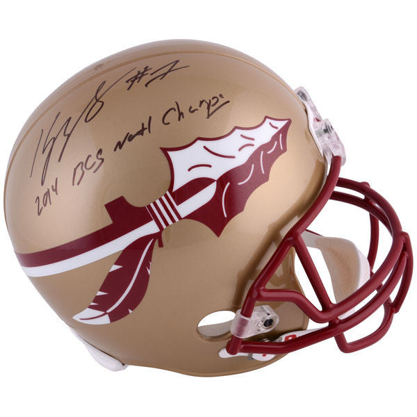 Kelvin Benjamin Florida State Seminoles Autographed Riddell Replica Helmet with 2014 BCS NATL Champs Inscription