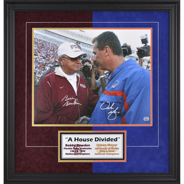 "Bobby Bowden, Urban Meyer Framed Autographed 16"" x 20"" Photograph"