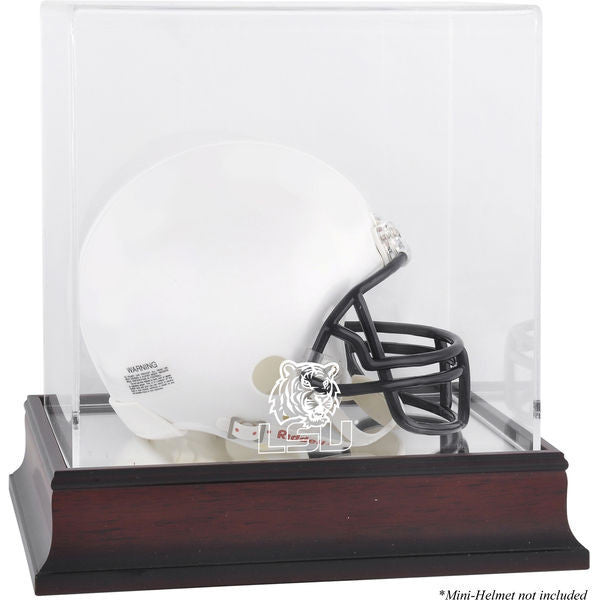 LSU Tigers Mahogany Logo Mini Helmet Display Case with Mirror Back