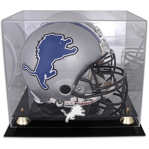 Lions- Golden Classic Helmet Display Case with Mirrored Back