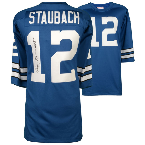 "Roger Staubach Dallas Cowboys Autographed Blue Authentic Mitchell & Ness Jersey with ""HOF 85"" Inscription"