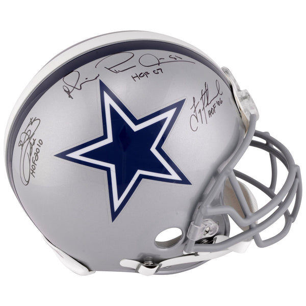 "Troy Aikman, Michael Irvin, Emmitt Smith Dallas Cowboys Autographed Riddell Pro-Line Helmet with Multiple ""HOF"" Inscriptions"