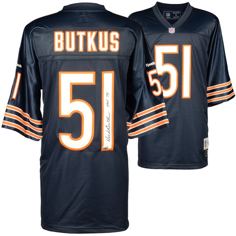 "Dick Butkus Chicago Bears Autographed Blue Reebok EQT Jersey with ""HOF 79"" Inscription"