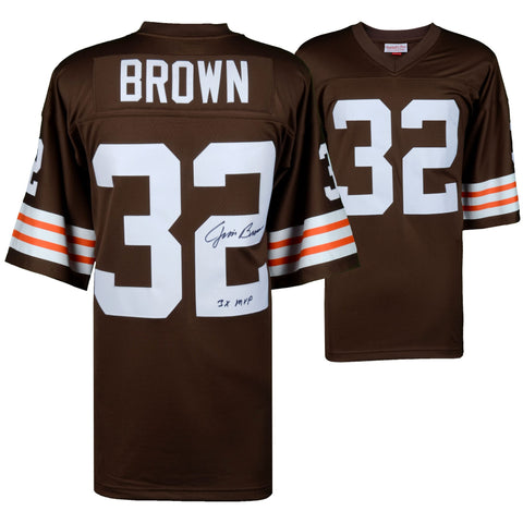 "Jim Brown Cleveland Browns Autographed Mitchell & Ness Replica Jersey with ""3X MVP"" Inscription"
