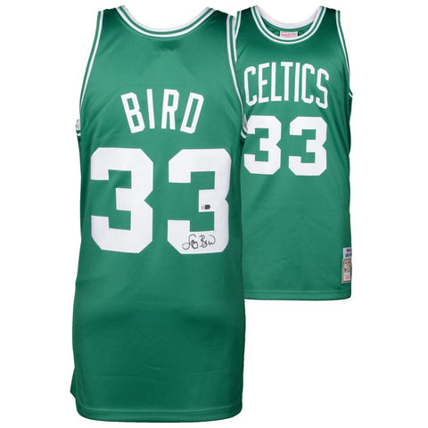 Larry Bird Boston Celtics Autographed Green Authentic Mitchell and Ness Jersey