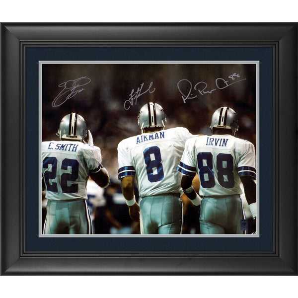 Troy Aikman, Michael Irvin, Emmit Smith Dallas Cowboys Framed Autographed 16'' x 20'' Backshot Photograph