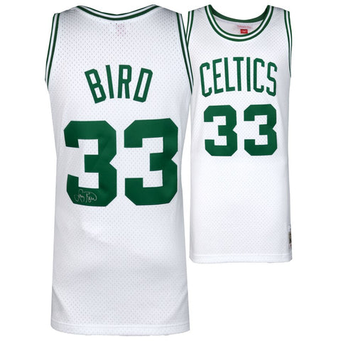 Larry Bird Boston Celtics Autographed White Mitchell & Ness Swingman Jersey
