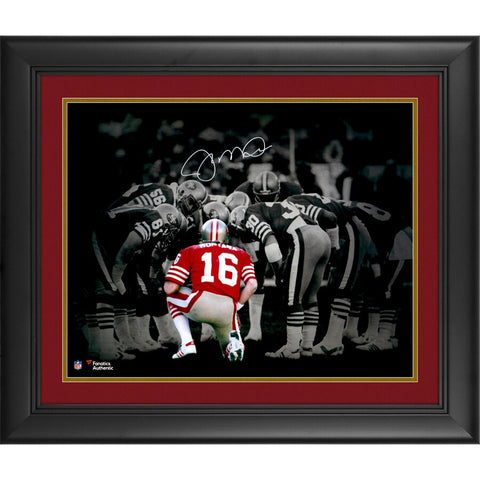 "Joe Montana San Francisco 49ers Framed Autographed 16"" x 20"" Huddle Spotlight Photograph."