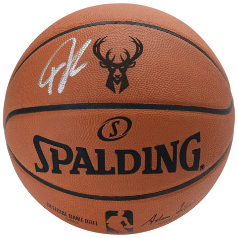 Giannis Antetokounmpo Milwaukee Bucks Autographed Spalding Engraved Logo Basketball