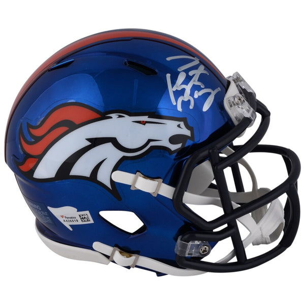 Peyton Manning Denver Broncos Autographed Riddell Chrome Alternate Speed Mini Helmet