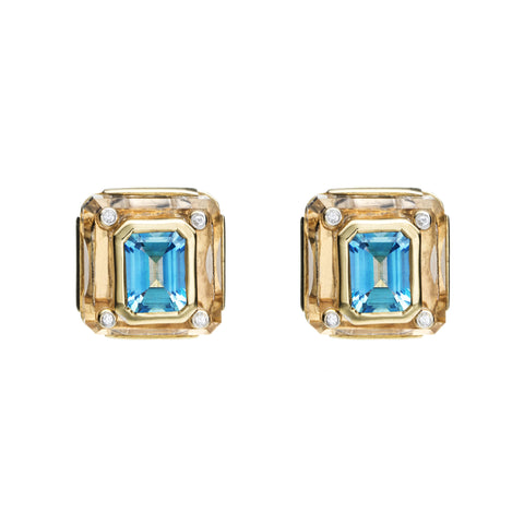 Cava Studs in Rock Crystal with Blue Topaz