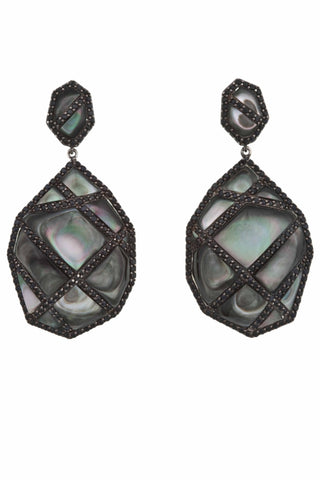 Deco Cage Earrings in Black Mother of Pearl