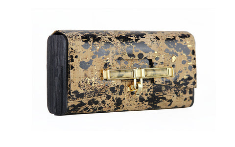 Lux Clutch - Black Splatter Natural Cork