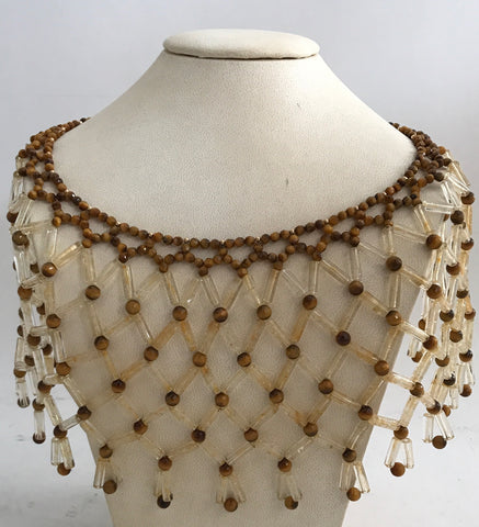Yellow and Taupe Beaded Choker