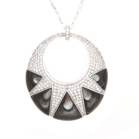 Large Deco Oval Pendant with Black Mother of Pearl