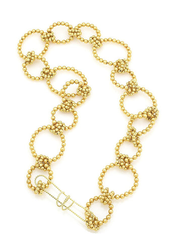 Beaded Linked Necklace in Gold
