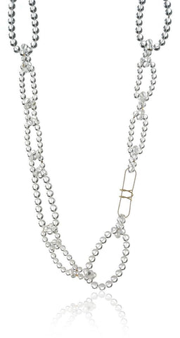 Beaded Linked Necklace in Rock Crystal (Large)