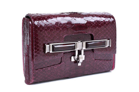 Lux Mini Cross Body Bag - Burgundy Python