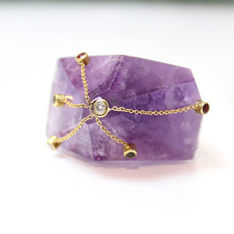 Large Amethyst Pyramid Ring