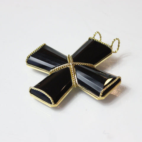 4 Piece Black Onyx Cross Pendant