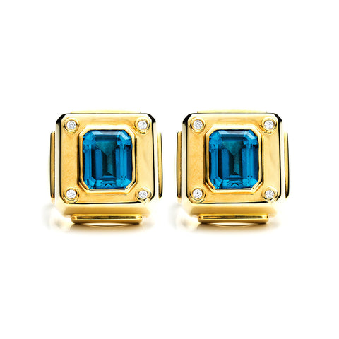 Gold Cava Studs with Blue Topaz