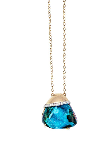 Chrysocolla Drusy & Diamond Necklace on 18k yellow gold chain
