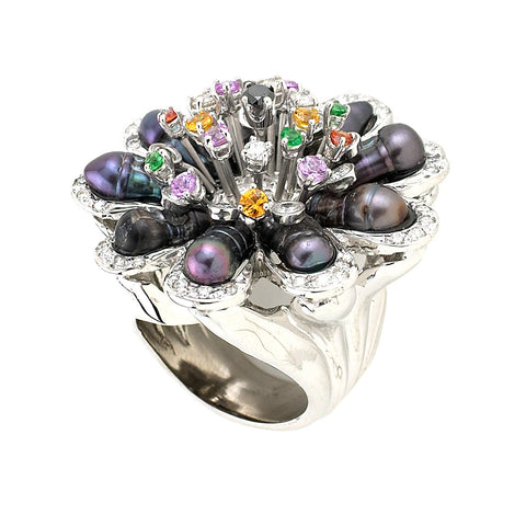 "Grey Pearl ""Flower"" Ring"