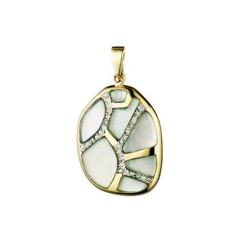"Extra Large ""Petra"" Mosaic Pendant with Moonstone and Diamonds"