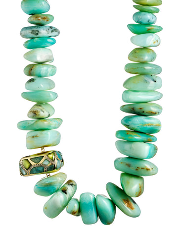 Blue Peruvian Opal Necklace with Mosaic Accent