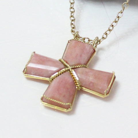 4 Piece Pink Opal Cross Pendant