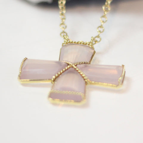 4 Piece Pink Quartz Cross Pendant