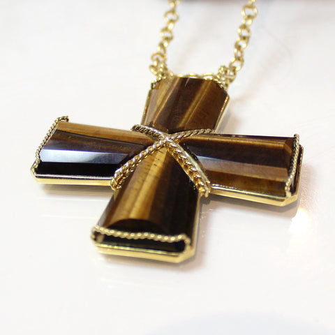4 Piece Tiger's Eye Cross Pendant