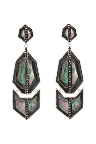 Triple GEO Arrow Earrings with Black Mother of Pearl