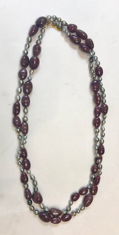 Tahitian Pearls Wrap Necklace With Purple Stones (Long)