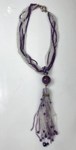 Layered Bead Tassle Necklace